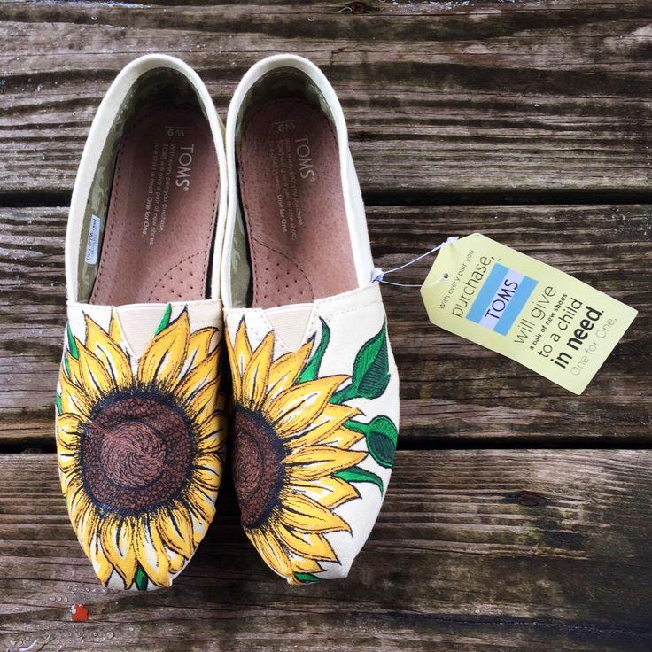 Custom Hand-Painted Sunflower Toms by EtsyByVeasey on Etsy https://www.etsy.com/listing/233809990/custom-hand-painted-sunflower-toms