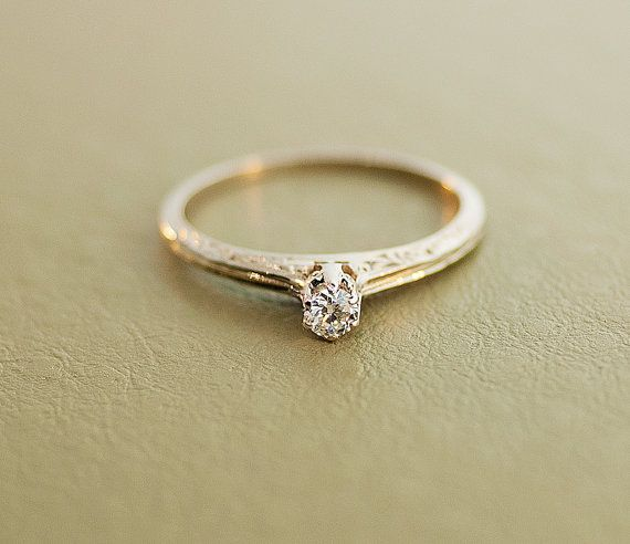 Dainty And Pee Antique 14k White Gold Diamond Engagement Ring