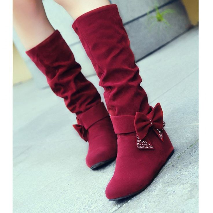 Bowtie Women Mid Calf Boots Wedges Fall|Winter Shoes Woman 2016 3371
