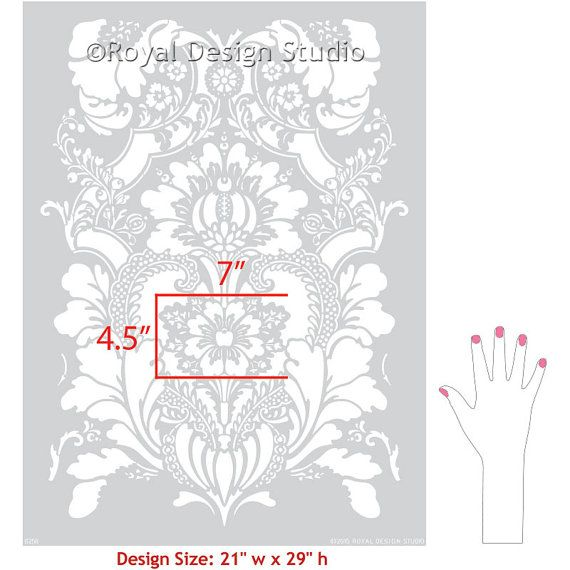 Lisabetta Damask Wall Stencil pattern for wall and DIY home