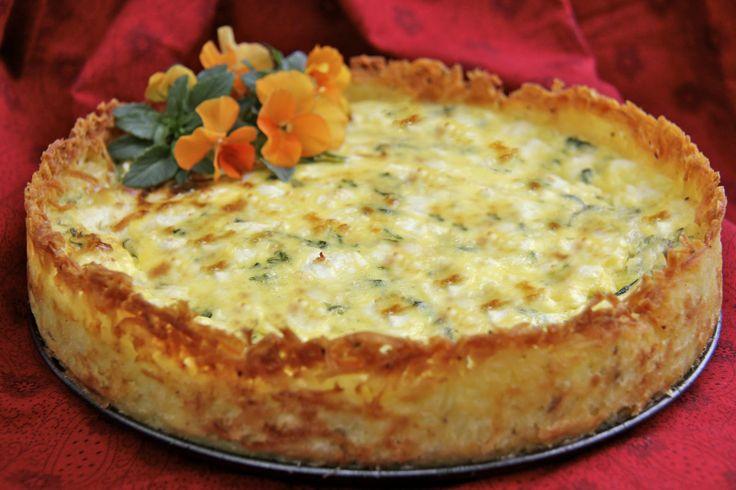 Goat Cheese, Fontina  Arugula Quiche w/ Crispy Hash Brown Crust - thecafesucrefarine.com