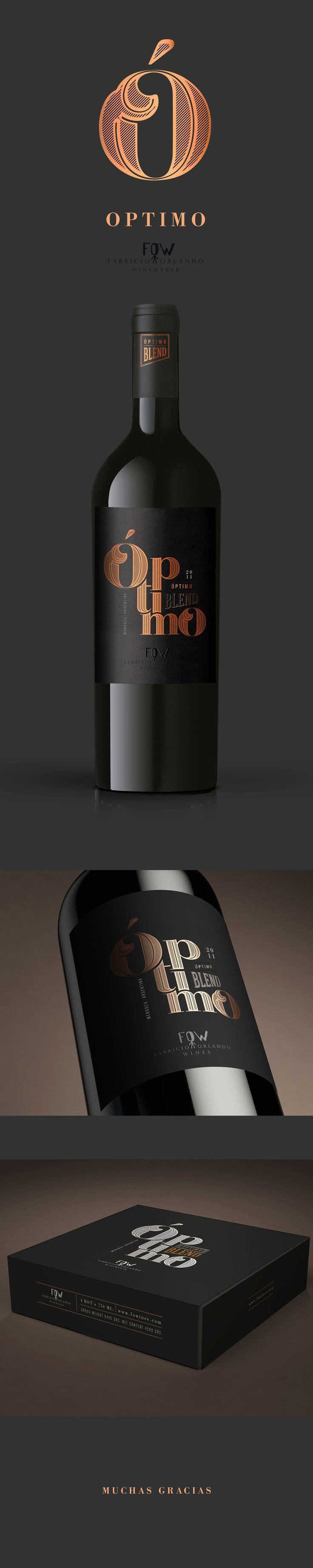 Diseño de packaging para Fabricio Orlando Winemaker, Optimo Blend