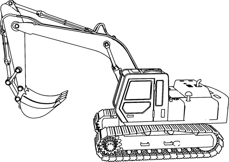 cool Excavator Side Coloring Page