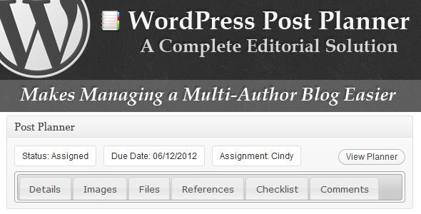 WordPress Post Planner   http://codecanyon.net/item/wordpress-post-planner/2496996?ref=damiamio         Do You Run a Multi-Author Blog? Or Like to Plan Your Posts Ahead of Time? Post-Planner is a fully-featured WordPress plugin for made just for you.  	 Post Planner makes running a multi-author blog a breeze. Need to set a due date for posts? Or assign a post to an author? No problem.  	 Post Planner is for you even if you don't run a multi-author blog. You can gather research without…