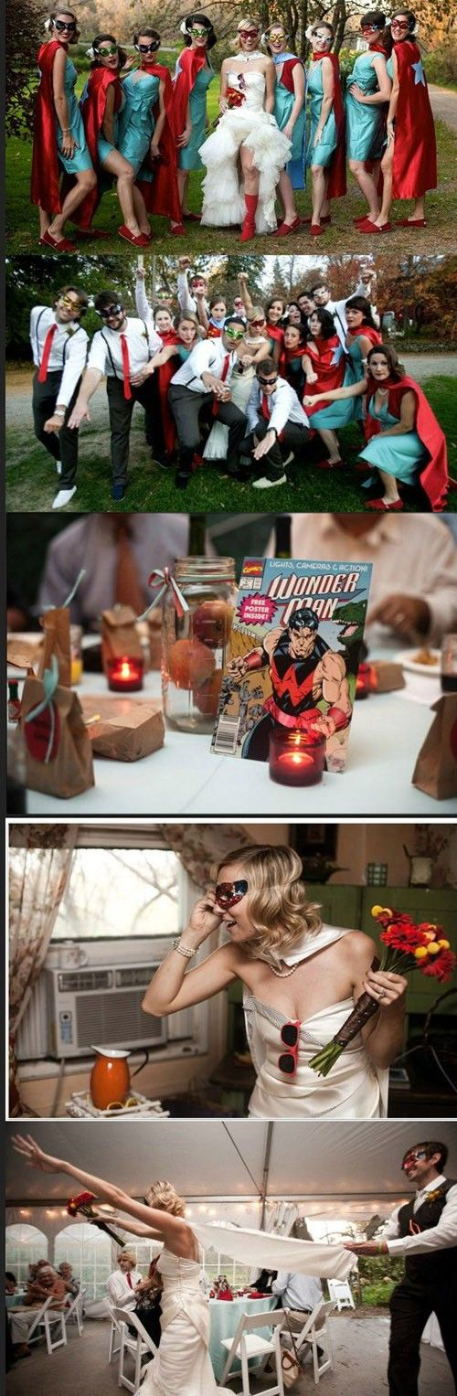 Super hero wedding. Bride has cape! Good idea!!love The table setting