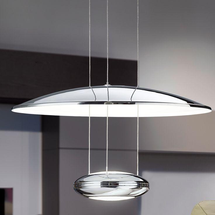 Eglo 93008 Lemos Led Chrome Reflector Pendant Light Kitchen Pendulum Fittings Kitchen