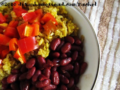 Red pepper palm oil rice