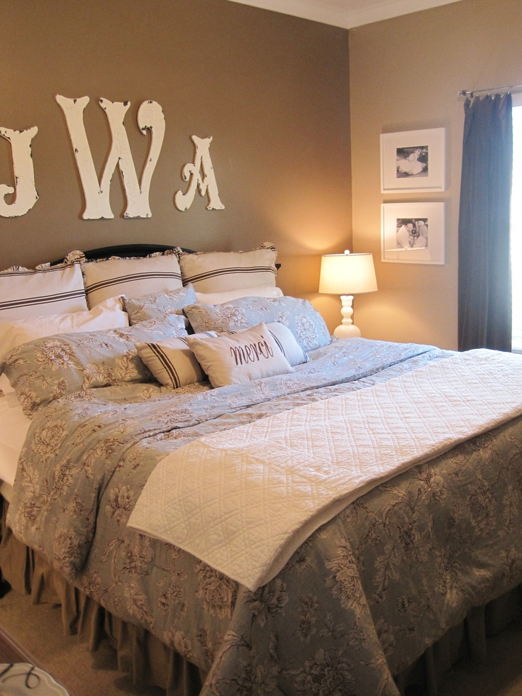my newly decorated master bedroom bedding all from home goods letters from my primitive boutique