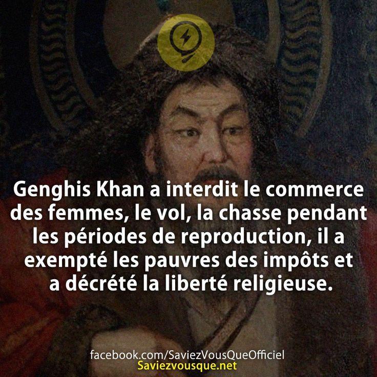 Genghis Khan a interdit le commerce des femmes, le vol, la chasse pendant les périodes de reproduction, il a exempté les pauvres des impôts et a décrété la liberté religieuse. | Saviez Vous Que?