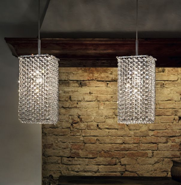 Sparkling ceiling light in chrome frame, asfour clear crystals. Also available in violet, green, amber, red (single or mixed combinations). Please ask us for the specific mix you want.