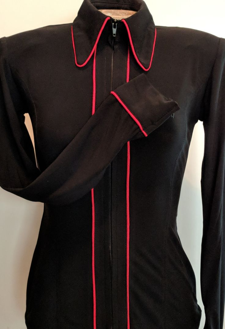 Show Diva Designs our black lycra plain fitted shirt with red piping. Sizes xxx-small to 3XL. Made in the USA 🇺🇸 showdivadesigns.com