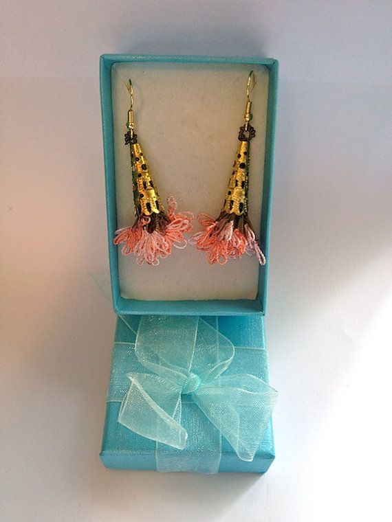 Pinkish Orange Floral Bouquet Trukish Needle Lace on Etsy