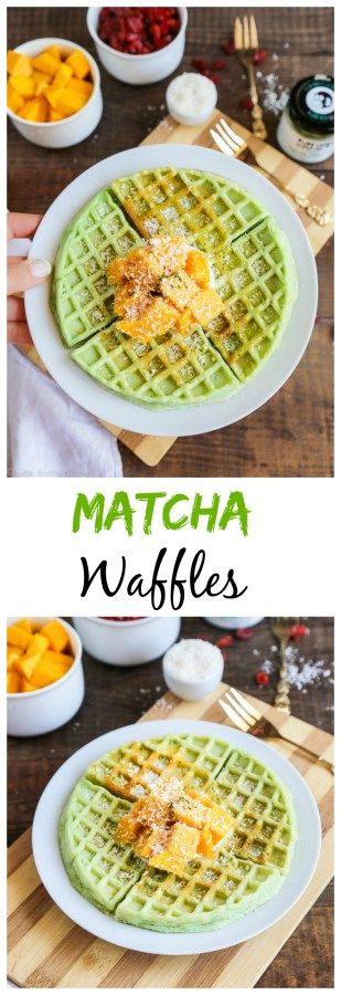 Beautiful green tea matcha waffles for breakfast to boost your energy levels!