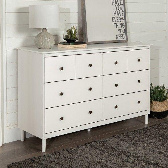 Classic Mid Century Modern 6 Drawer Dresser White Saracina Home