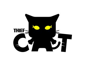 Thief Cat Logo design - This logo is ideal for art & photography, design & creative services, entertainment & media, and any related businesses.