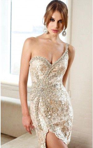 Ivory Sheath Short One Shoulder Dress Shop Online - 4p102 - skup120904038s