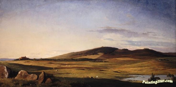 Zealand landscape,view from bjerreso mark towards vejrhoj and dragsholm manor Artwork by Johan Thomas Lundbye Hand-painted and Art Prints on canvas for sale,you can custom the size and frame