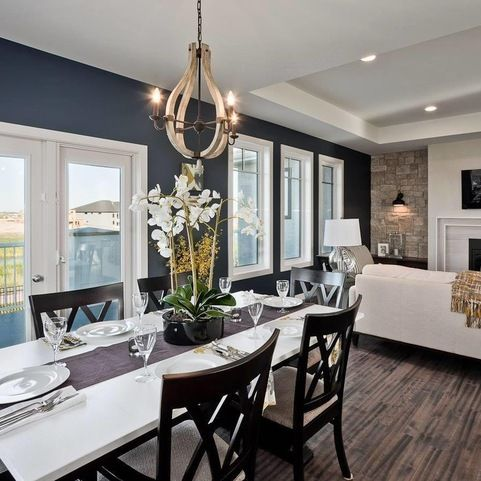 Wall colour throughout is BM Chantilly Lace. Trim is BM Balboa Mist. Navy Accent wall is BM Hale Navy. 150 Lake Bend, Winnipeg - Lisa Clark Design via Houzz