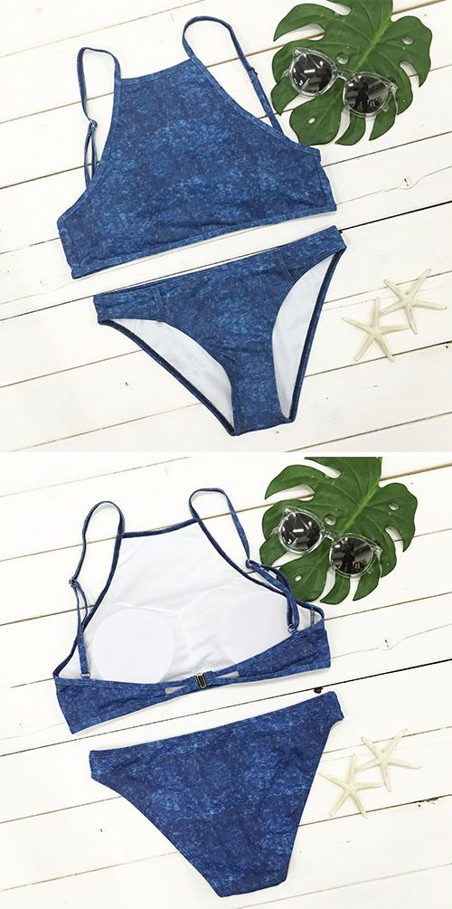 We got a better way,we discovered a star. Highlight you,$17.99! You are going to wow everyone in Down in the Denim Tank Bikini Set! Shop more amazing items at Cupshe.com !