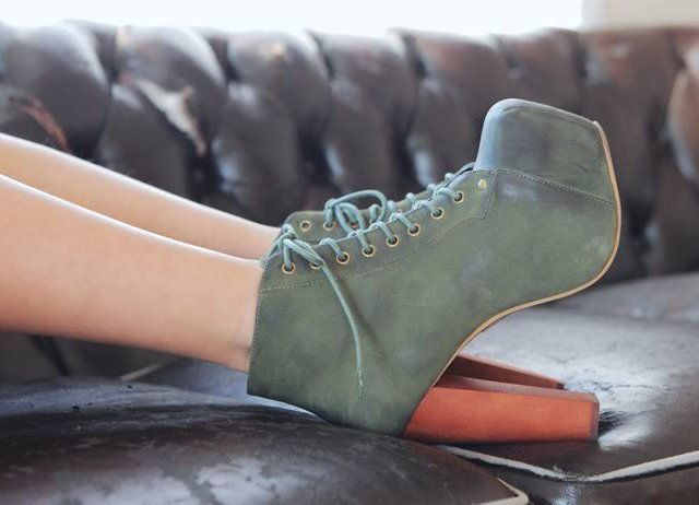 Lita Green Nubuck Platform Booties by Jeffrey Campbell - www.vollow.me