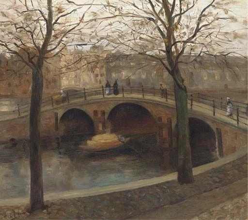 Figures walking across a bridge over a Dutch canal, George Hendrik Breitner.  Dutch (1857 - 1923)