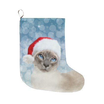 #Blue point Siamese cat Christmas Large Christmas Stocking - #Xmas #ChristmasEve Christmas Eve #Christmas #merry #xmas #family #kids #gifts #holidays #Santa