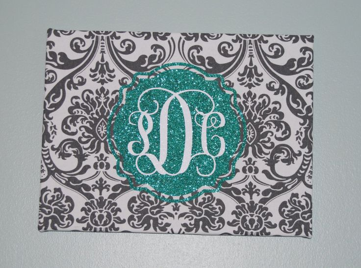 Monogrammed Canvas, Fabric covered monogrammed canvas,Custom Monogrammed canvas,Monogrammed wall art,Damask wall art,Glitter Monogram canvas by PamelaAnneCreations on Etsy