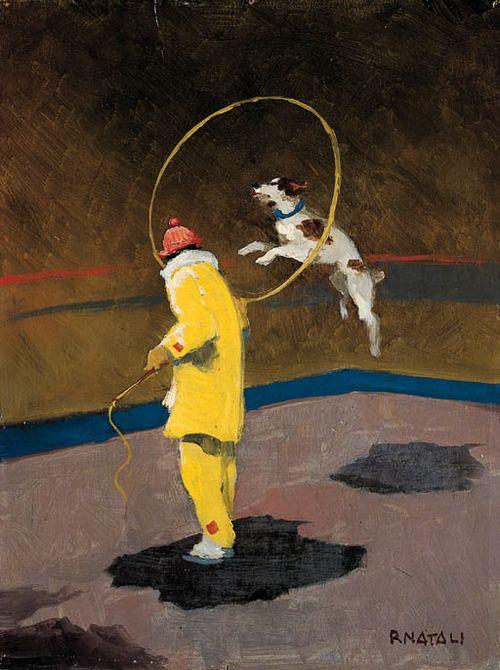 "Renato Natali (Italian, 1883-1979), ""Cane saltatore al circo"" [Performing dog at the circus]. Oil on wood, 40 x 30 cm."