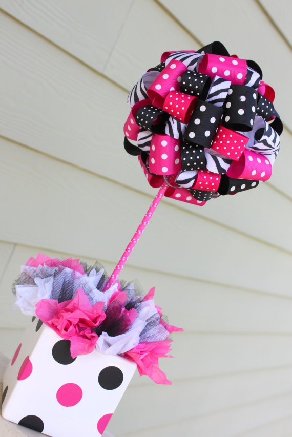 Hot Pink Ribbon Topiary in Zebra Hot Pink Dots by SoCuteParties, $38.00