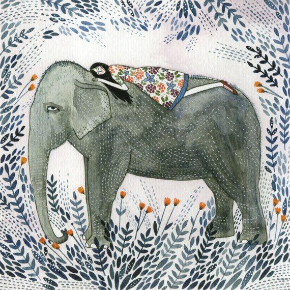 rêve d'éléphant imprimé par ybryksenkova sur Etsy
