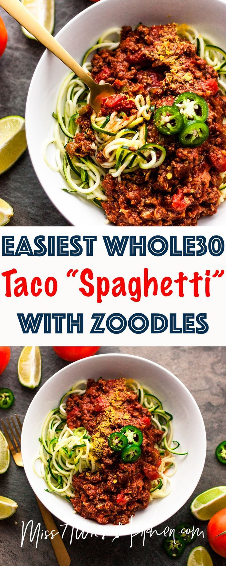 Easiest Whole30 Taco Spaghetti - The perfect low carb meal that follows all of the Whole30 rules. One of the easiest recipes that can be made with ground beef, turkey or venison! You won't believe how easy and tasty it is! #whole30 #whole30approved #dinner #whole30recipes #paleo #easydinner