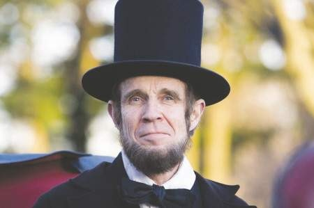 Steve Wood as Abraham Lincoln, March 6, 2010. Image by an Exeter News-Letter photographer.