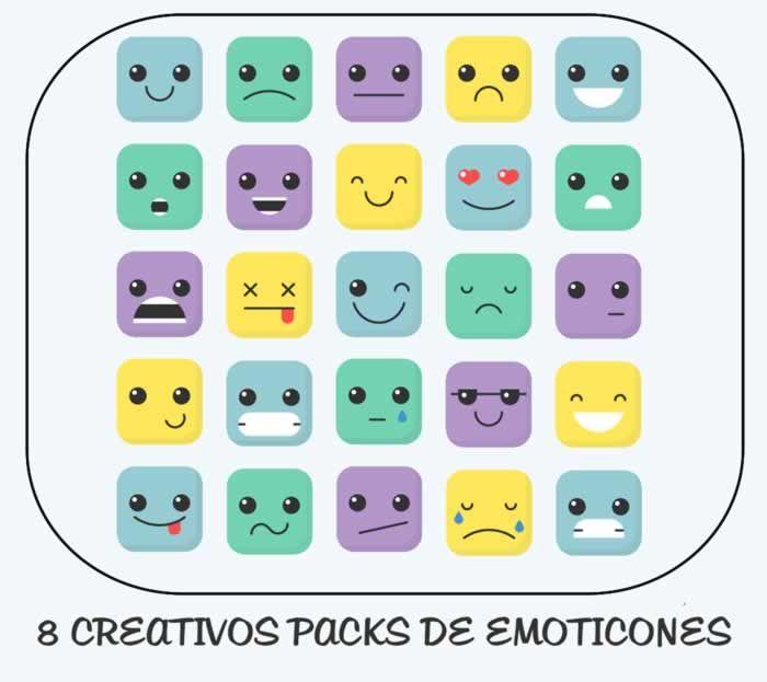 8 creativos packs de emoticones para descargar gratis #iconos                                                                                                                                                                                 Más