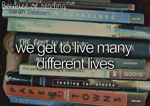 Because of reading... I've read Dreamland, If I Stay, The Fault In Our Stars, The Perks Of Being A Wallflower, Paper Towns