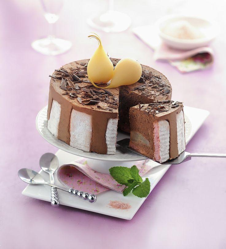 CHARLOTTE POIRE CHOCOLAT FOSSIER. Recette fossier. http://www.fossier.fr/fr/recette/charlotte-poire-chocolat-fossier-n165