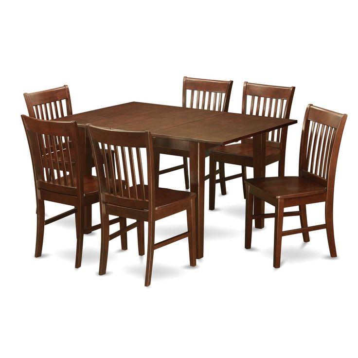 PSNO7 MAH 7 Piece Rubberwood Mahogany Kitchen Dinette Set (Microfiber),  Clear, Size 7 Piece Sets