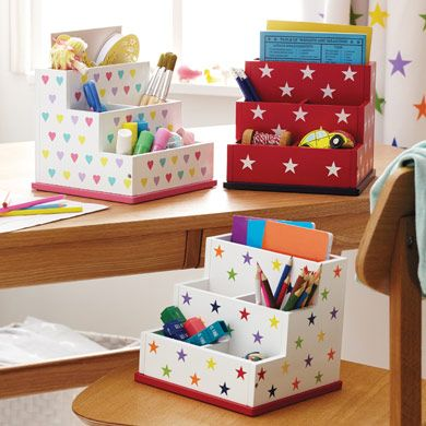 Keep Kids Desks Organised With These Great Desk Accessories Pen Pots Pencils And Craft Materials For An Homework Time