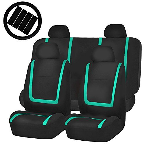 FH-FB032114 Unique Flat Cloth Full Set Car Seat Covers, Mint / Black with FH2033 Steering Wheel Cover and Seat Belt Pads- Fit Most Car, Truck, Suv, or Van. For product info go to:  https://www.caraccessoriesonlinemarket.com/fh-fb032114-unique-flat-cloth-full-set-car-seat-covers-mint-black-with-fh2033-steering-wheel-cover-and-seat-belt-pads-fit-most-car-truck-suv-or-van/