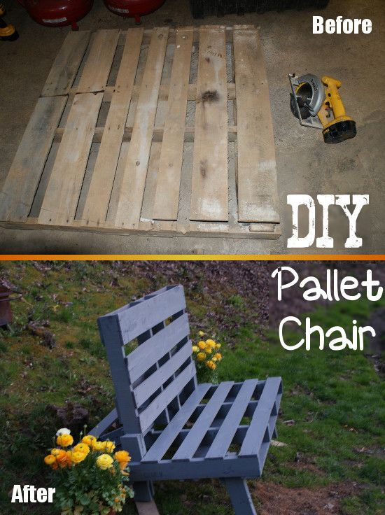 Check out how to make an outdoor lounge chair from an old pallet! Practical furniture made from old pallets.