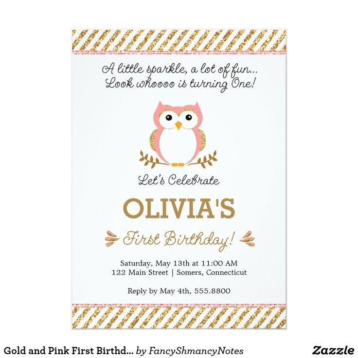 32 best birthday invitations images on pinterest birthday gold and pink first birthday owl invitation filmwisefo