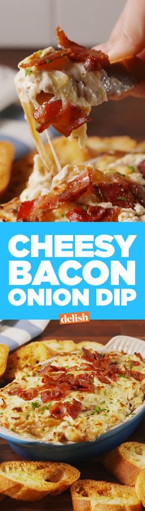 It's a hot and bubbly bacon-cheddar-mozzarella onion dip. How bad can that be?