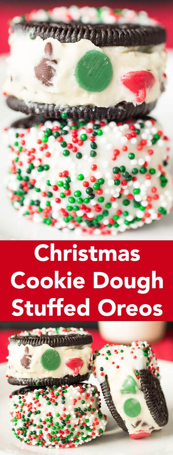 Christmas Cookie Dough Stuffed Oreos Recipe - Christmas Dessert Recipes