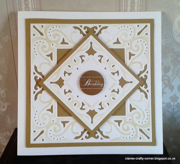 Made by Claire Basinger - Birthday card made using the Enchanted Create a Card die cut from cream and gold card then stencilled with Antique Linen distress ink on the embossed areas.