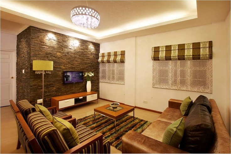 Living Room With Stone Cladding Savio And Rupa Interior