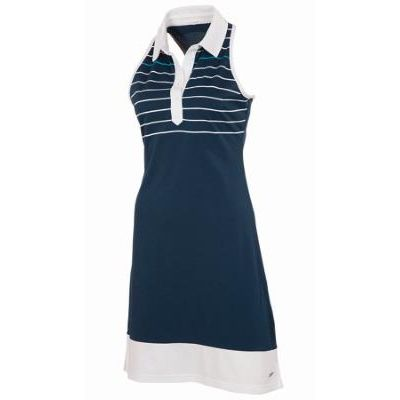 AUR Women's McLennan Golf Dress in nightfall with white and malibu detailing.