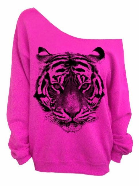 Hot Pink Slouchy Tiger Print Hoodie I don't really wear pink, but I love this shirt!