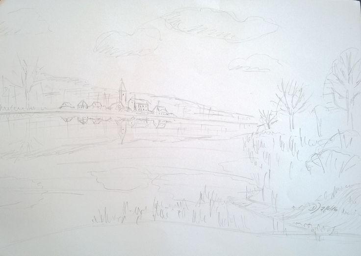 Vor einigen Tagen stand ich morgens an einer Kiesgrube uns sah eine wundervolle Wasserspiegelung, die ich, ergänzt um einige Häuser, kurz skizzieren mußte.