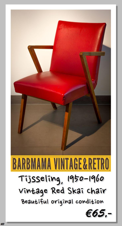 Type: Vintage Red Skai Chair, Model: Unknown, Designer: Unknown, Producer: Tijsseling, Period: 1950-1960, Condition: Good, Origin: Netherlands, Note: Beautiful original condition, Price: €65,-