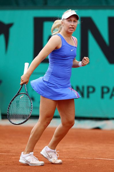 Daria Gavrilova Photos - Daria Gavrilova of Russia in action during the girl's second round match between Daria Gavrilova of Russia and Silvia Njiric of Croatia on day nine of the French Open at Roland Garros on May 31, 2010 in Paris, France. - 2010 French Open - Day Nine
