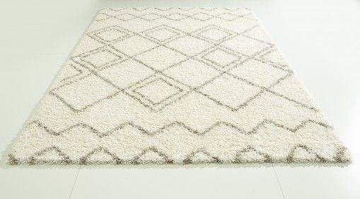 Teppich mit Rauten, Creme und Taupe, 120x170 cm, in Beni Ourain Optik. Jetzt günstig shoppen auf www.klick-vinyl-boden.de